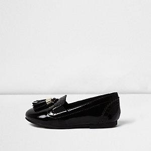 Zwarte lakleren loafers met kwastjes voor mini girls
