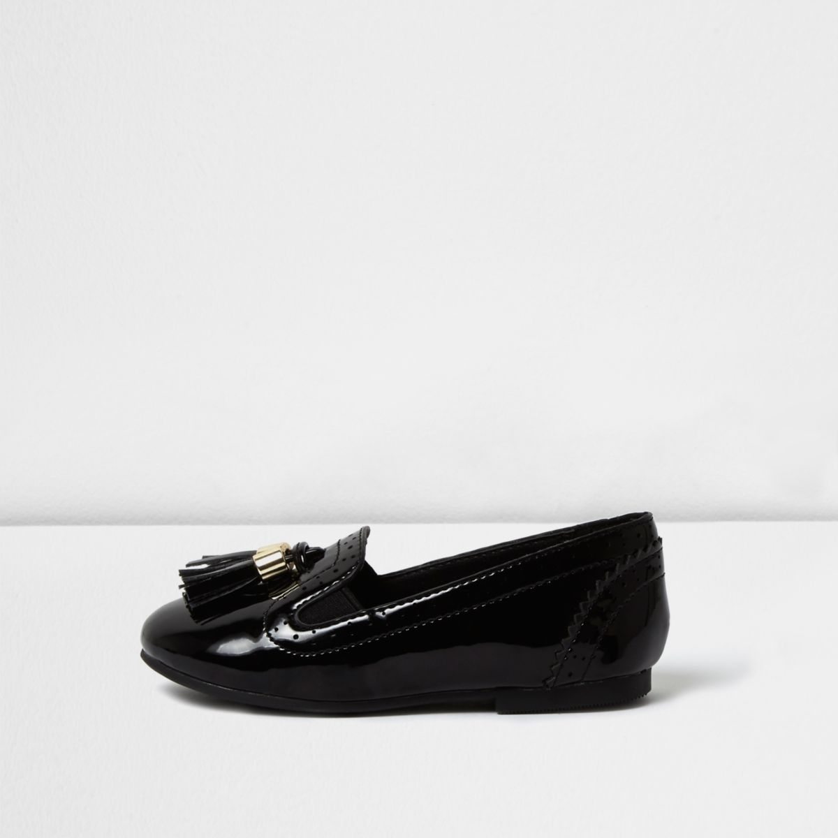 Mini girls black patent tassel brogue loafers