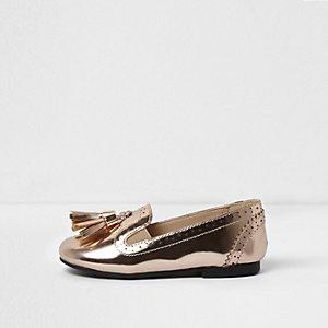 Mini girls metallic tassel brogue loafers
