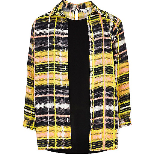 Girls yellow check layered shirt