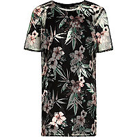 Girls black tropical print mesh T-shirt dress