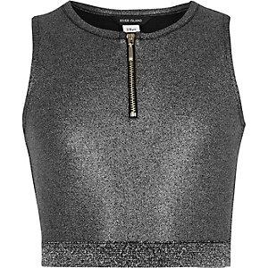 Zilver-metallic crop top met rits voor meisjes