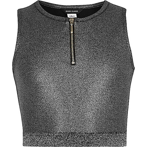 Girls metallic silver zip crop top
