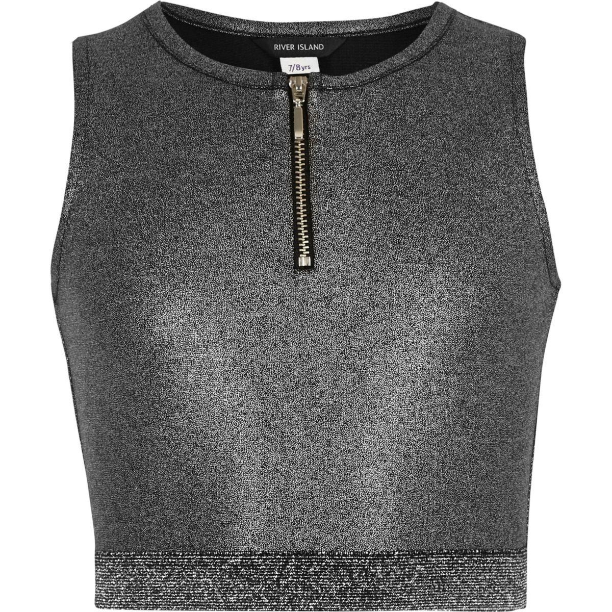 Girls metallic silver zip crop top