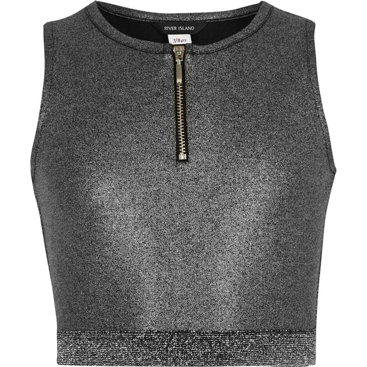 Crop top argenté métallisé zippé pour fille