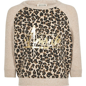 Girls leopard metallic print sweatshirt