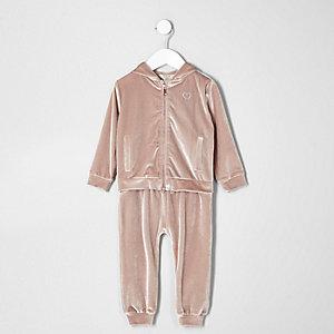 Ensemble pantalon de jogging et sweat en velours rose à capuche mini fille