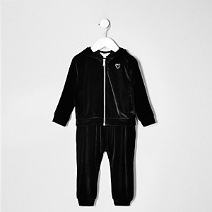 Mini girls black velvet hoodie and jogger set