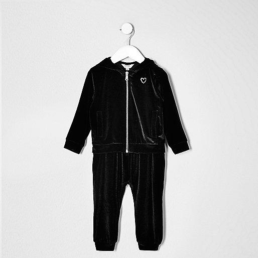 Mini girls black velvet hoodie and jogger set