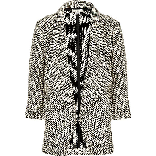 Girls grey knit waterfall blazer
