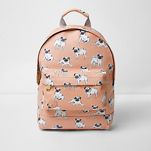 Girls pink Mi-Pac pug dog print backpack