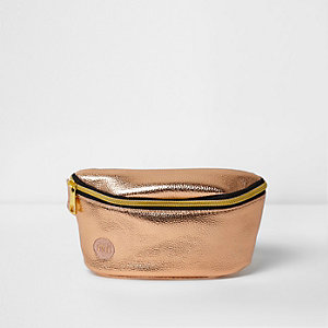 Girls rose gold Mi-Pac metallic bum bag
