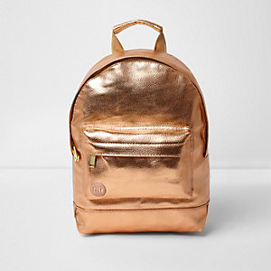 Girls rose gold metallic mini Mi-Pac backpack