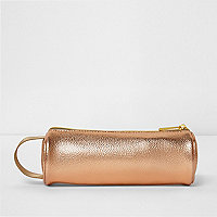 Girls Mi-Pac rose gold metallic pencil case