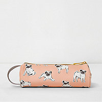 Girls Mi-Pac pink pug print pencil case