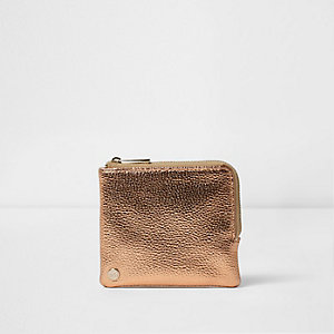 Girls rose gold Mi-Pac coin purse