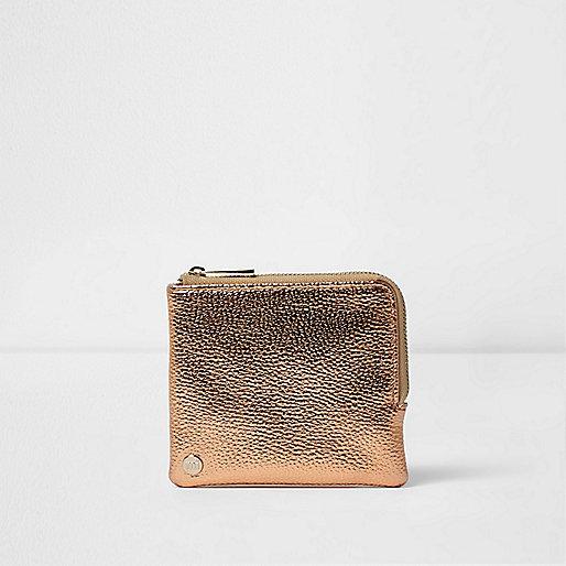 Girls rose gold Mi-Pac coin purse