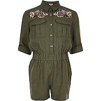 Girls khaki embroidered jumpsuit