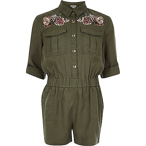 Girls khaki embroidered jumpsuit