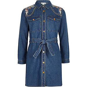 Girls blue denim embroidered dress