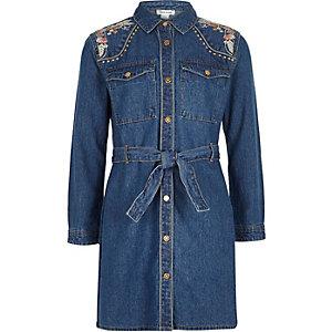 Robe en jean bleue avec broderies pour fille