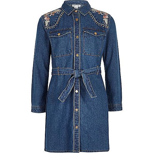 Girls blue denim embroidered dress