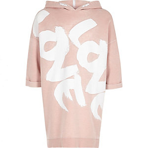Girls pink hooded love sweater dress