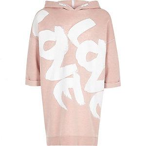 Roze sweaterjurk met love-print en capuchon voor meisjes