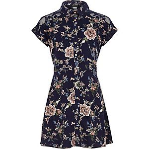 Girls navy floral print shirt dress