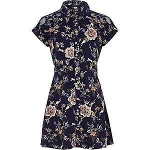 Robe chemise bleu marine à fleurs pour fille
