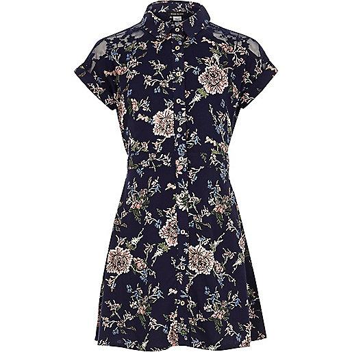 Girls navy floral print shirt dress
