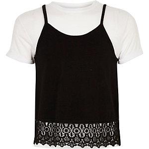 Wit T-shirt met camitop voor meisjes