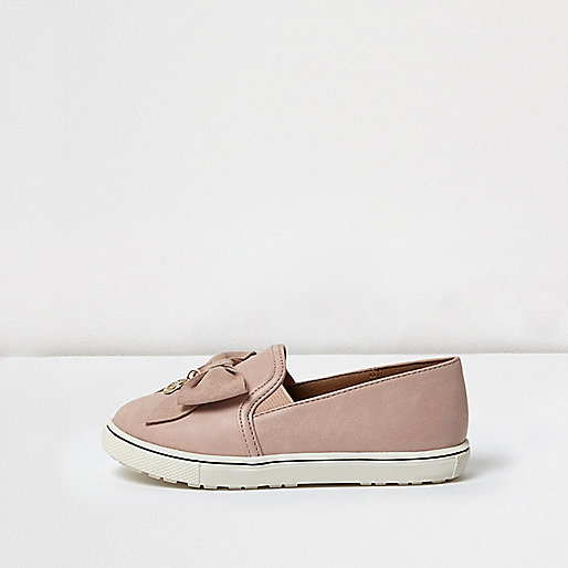 Mini girls pink suede bow plimsolls