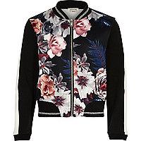 Girls black floral print bomber jacket