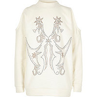 Girls cream stud cold shoulder sweatshirt