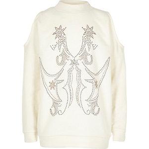 Sweatshirt mit Schulterausschnitten und Nieten in Creme