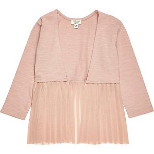 Mini girls light pink pleated cardigan