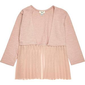 Cardigan rose clair plissé mini fille