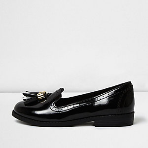 Girls black patent tassel brogue loafers