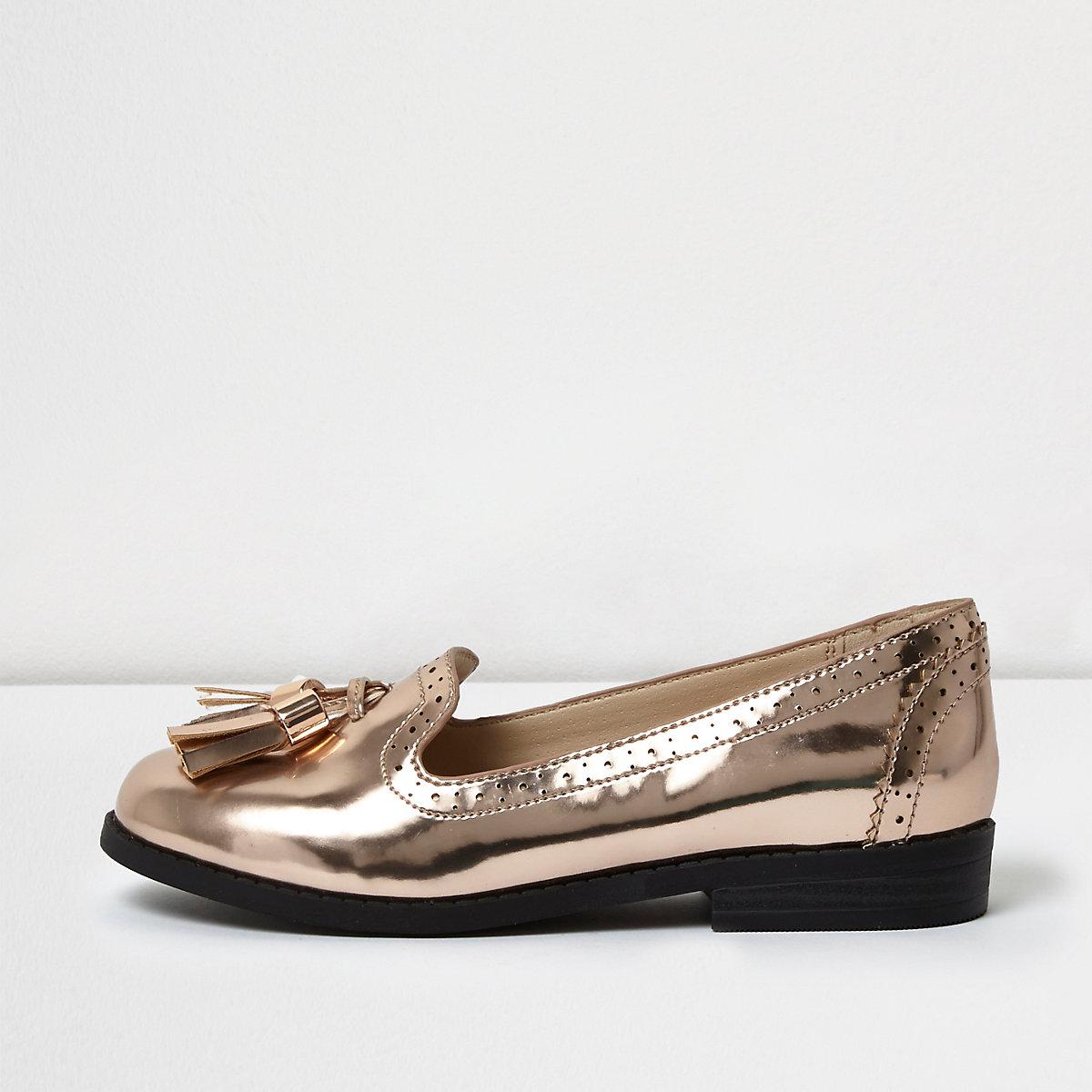 Girls metallic pink tassel brogue loafers