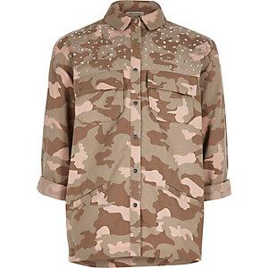 Roze shacket met camouflageprint en versiering voor meisjes