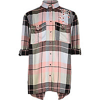 Girls pink check floral embroidered shirt