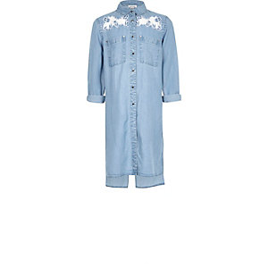 Girls longline embroidered denim shirt