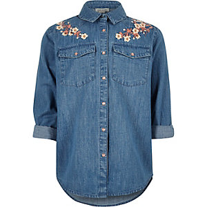 Girls blue floral embroidered denim shirt