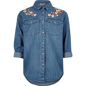 Blauw geborduurd denim overhemd met bloemen voor meisjes