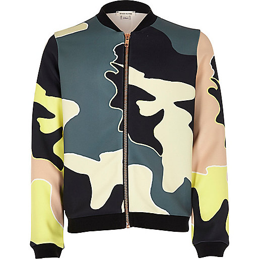 Girls khaki camo bomber jacket