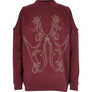 Girls burgundy stud cold shoulder sweatshirt