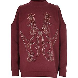 Bordeauxrood schouderloos sweatshirt met studs voor meisjes