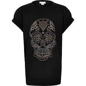Girls black heatseal skull T-shirt