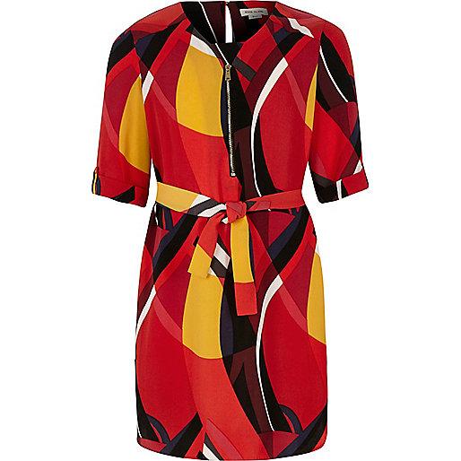 Girls red geo print zip shirt dress